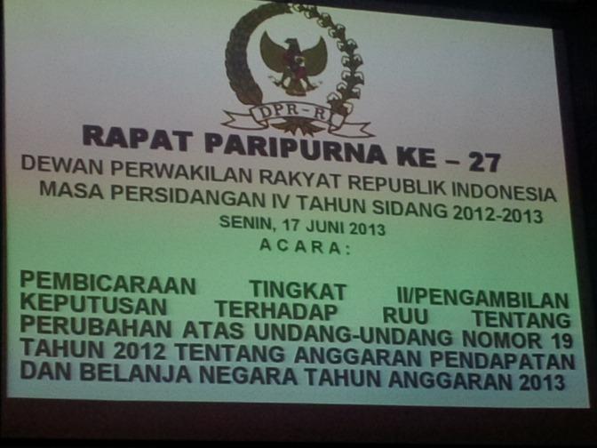 Rapat Paripurna DPR RI Ke-27, 17 Juni 2013