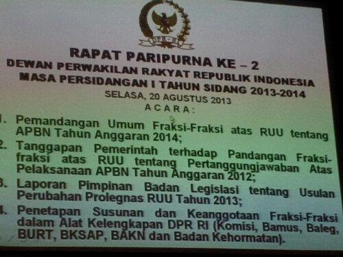 Rapat Paripurna Ke-2 DPR-RI Masa Persidangan 1 2013-2014