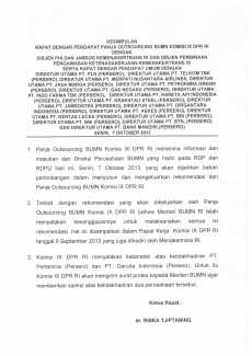 Kesimpulan RDP Panja Outsourcing BUMN Komisi IX DPR RI dengan Dirut Perusahaan-Perusahan BUMN .  Senin, 7 Oktober 2013